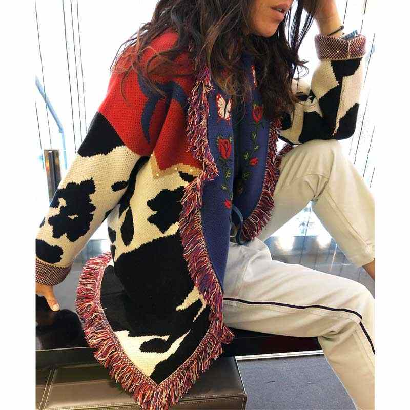 Boho แรงบันดาลใจหลายสี OVERSIZE Cardigan ผู้หญิง shawl lapel แขนยาว cardigans เสื้อกันหนาวปักเสื้อถัก outwear 2019