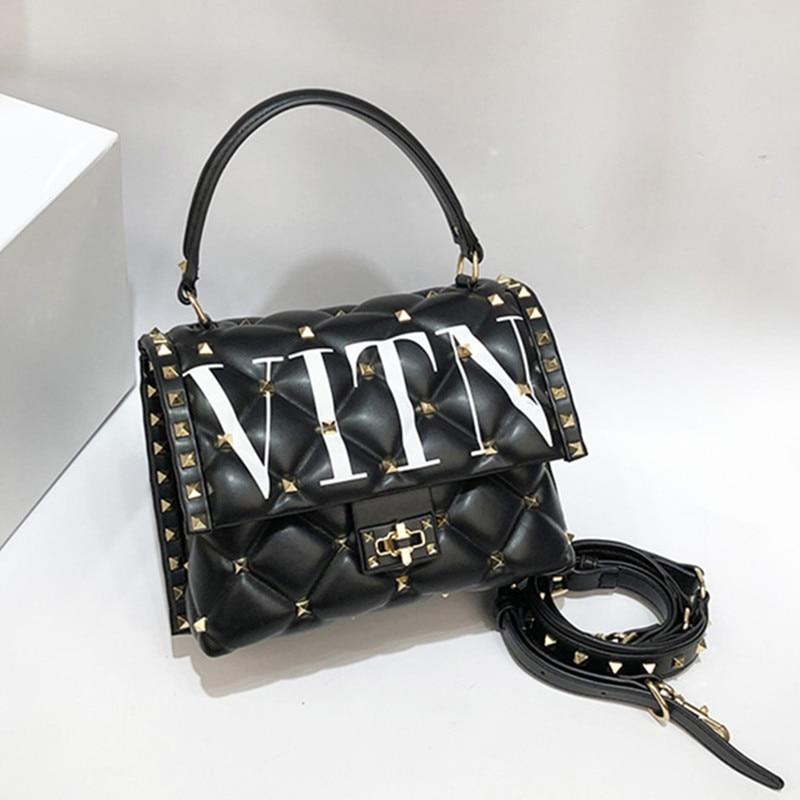 Berühmte Designer Hohe Qualität Echtes Leder Frauen Handtaschen Luxus Mode Niet Brief Design Schulter Messenger Tasche Sac EIN Haupt - 6