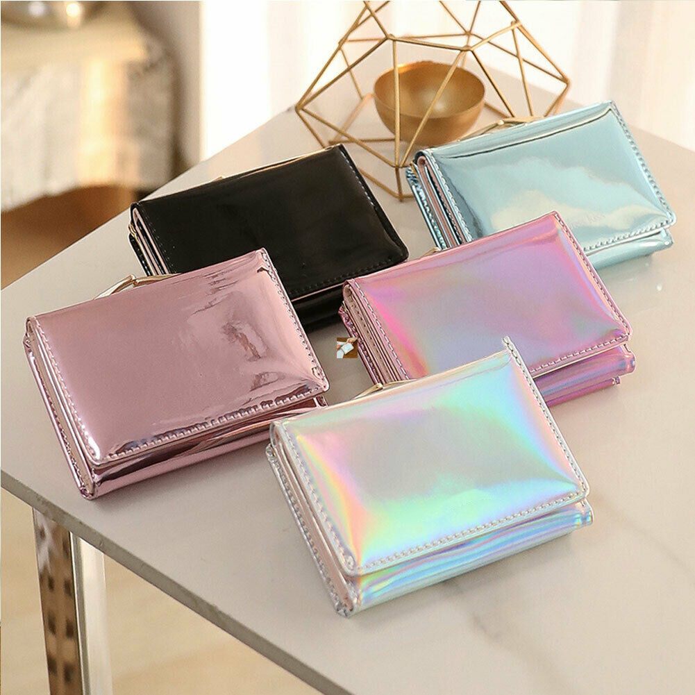 Women Laser Holographic Rainbow Wallets Short Cute Purse Small Wallet Women Folding Wallet Card Holder Coin Purse