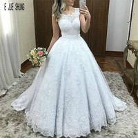 E JUE SHUNG Charming White Lace Wedding Dresses Cap Sleeve Scoop Neck Covered Button Back Bride Bridal Gowns Vestido De Noiva