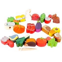 Grânulos de madeira do bebê brinquedos conjunto diy comida animal miçangas brinquedo crianças amarrando rosqueamento contas jogo montessori brinquedos educação precoce
