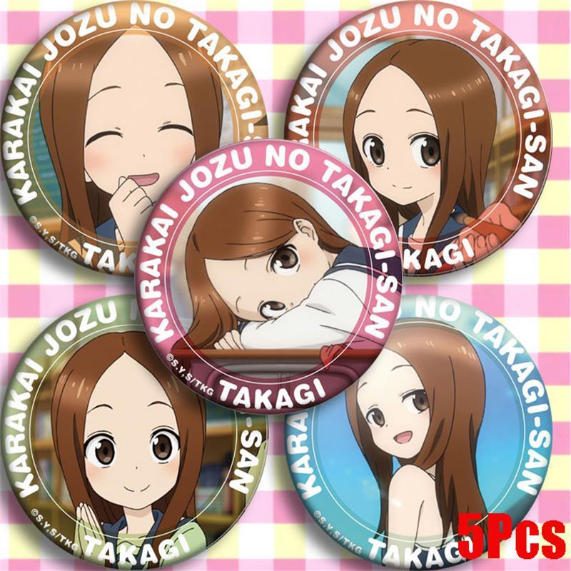 Anime Teasing Master Takagi-san Takagi Cosplay Badge Cartoon Collect Backpack Bag Badge Button Brooch Pin Bag Pendant