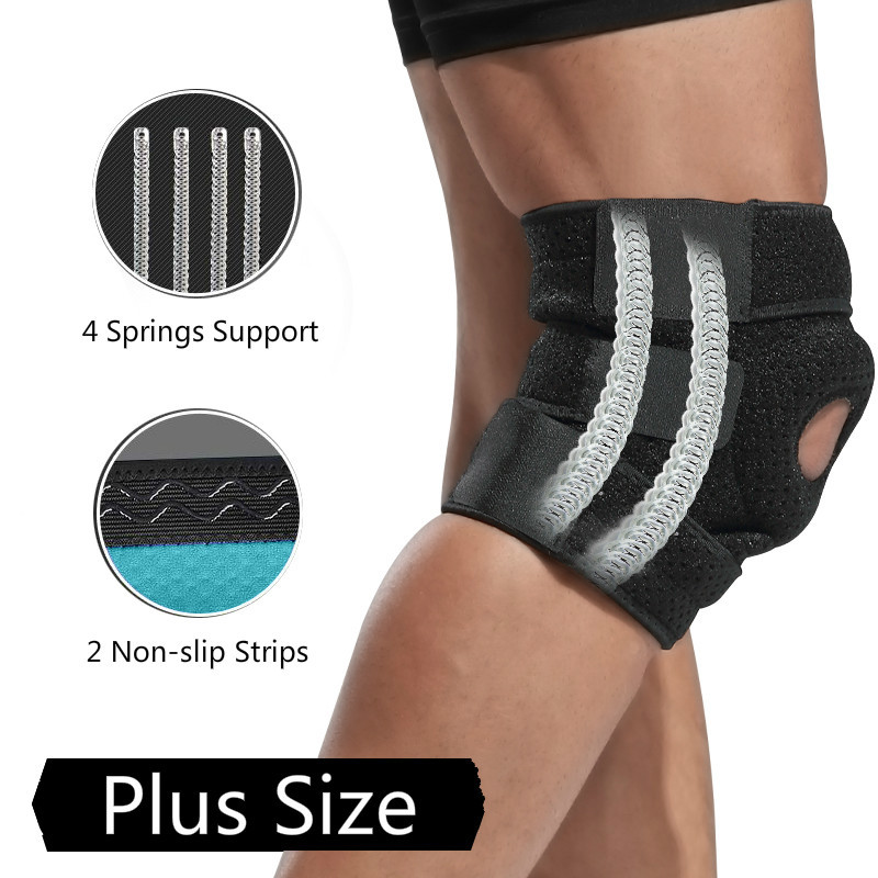 2PCS Plus Size Knee Brace Support Adjustable Hole Patella 4 Springs Joint Knee Pads Protector Sport Basketball Volleyball Safety