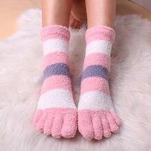3 pares de meias de cama feminino fuzzy macio pelúcia chinelo meias quentes inverno acolhedor dormir meias fofo cinco toe meias