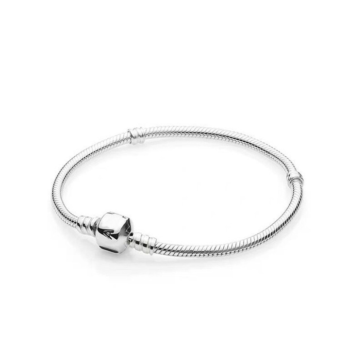 Original 100% Real 925 Sterling Silver <font><b>Pan</b></font> Monment Snake Chain <font><b>Bracelet</b></font> Bangle for Women Authentic <font><b>Charm</b></font> Jewelry Pulseira Gift image