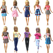 NK 10 Pcs/Set Newest Fashion Doll Dress Casual Skirt Clothes Outfit For Barbie Doll Dollhouse Girls' Gift Baby Toys 20A 7X(China)