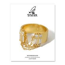 S'aço zircon anéis 925 prata esterlina para as mulheres coreano luxo corrente borla ouro ajustável anel bague argent fino jóias
