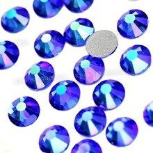 Сапфир AB все размеры SS3-SS30 не исправление Стразы Кристалл страз блестит Стразы для художественное оформление ногтей Декор Маникюр