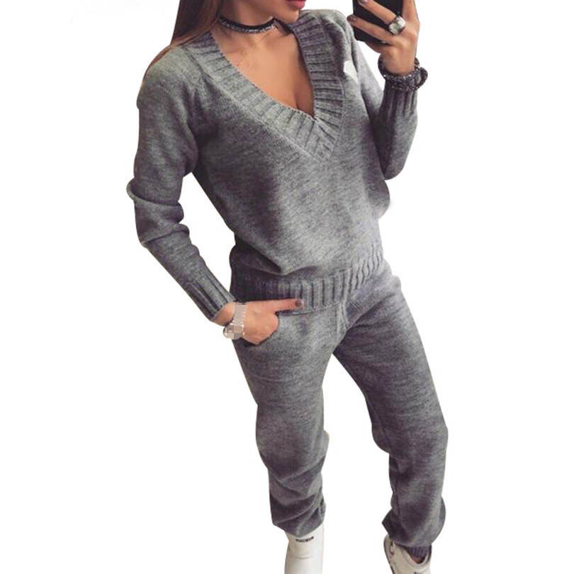 Winter Women's Sets Warm Wool Knitted Suits Long Sleeve V-neck Sweaters+pants Loose Style 2 Piece Set Feminine Clothes