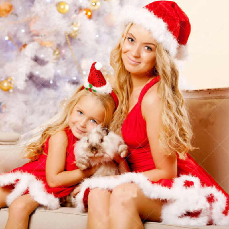 Christmas Mom And Me Princess Dress Comfy Sleeveless Family Matching Outfits Cosplay Costume Clothes Mother Daughter Dresses New