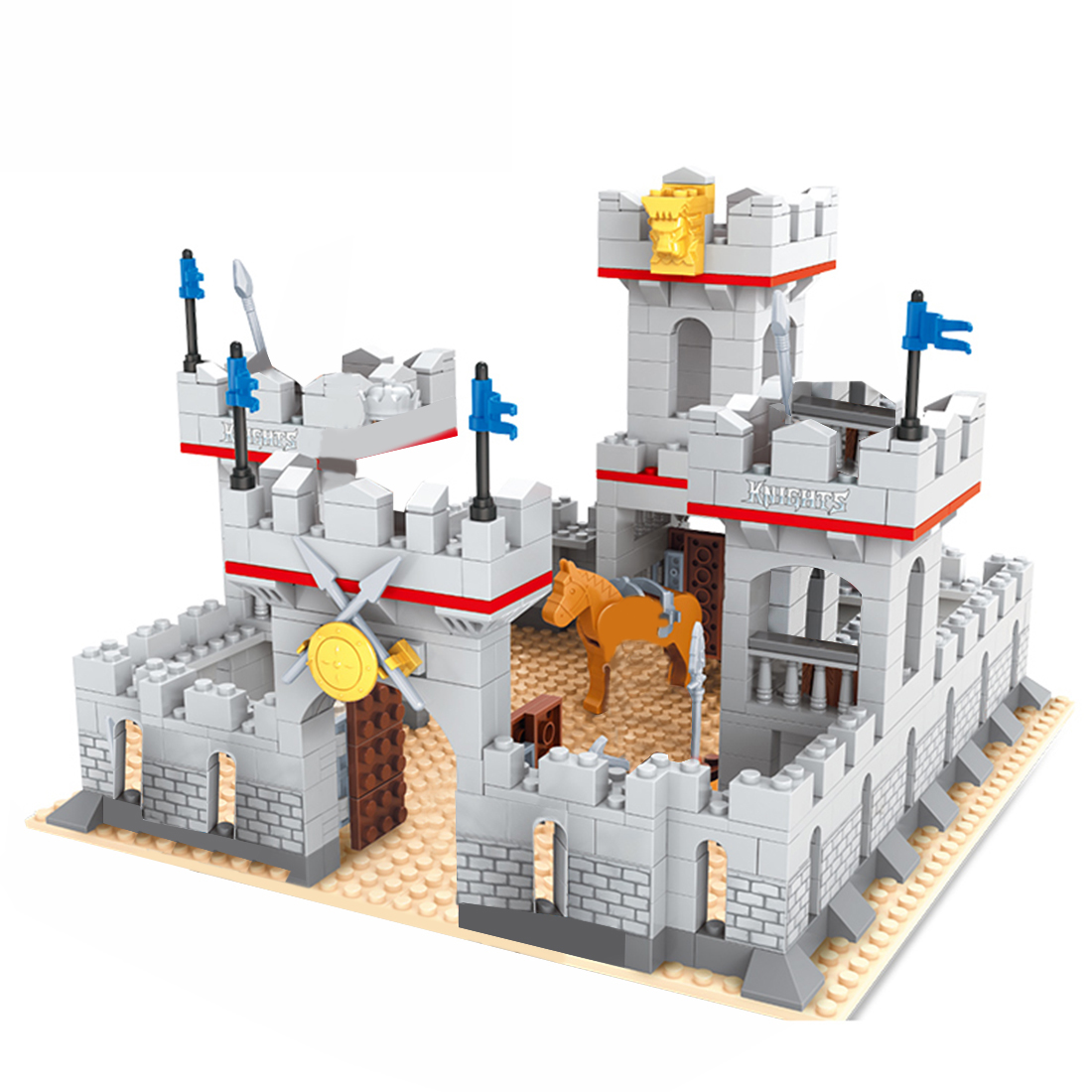 686Pcs DIY MOC Girl Series Small Particles Building Block <font><b>Castle</b></font> <font><b>Medieval</b></font> Knight Gate Guard Educational Toy Gift For Birthday image