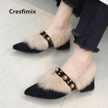 Cresfimix sapatos azul feminino clássico preto confortável inverno sapatos quentes senhoras moda rosa sapatos de salto alto bombas doces a9062