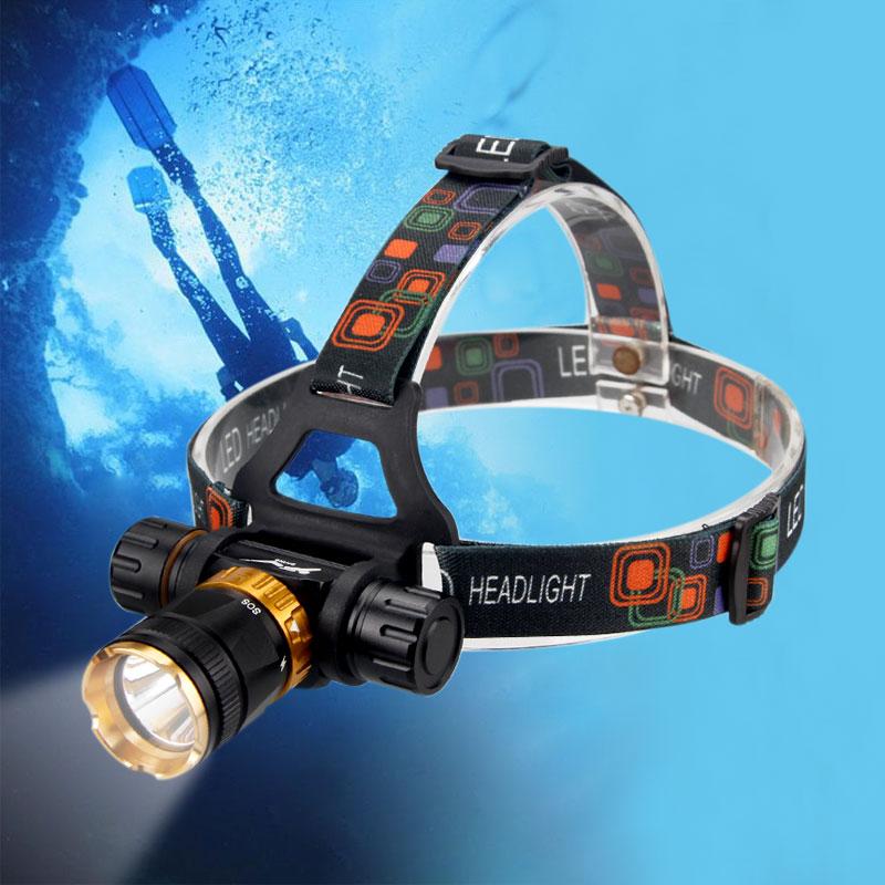 5000 Lumens Diving Headlight XML T6 LED Flashlight Forehead Waterproof Torch Underwater Head Lamp Headlamp 18650 Battery Lantern