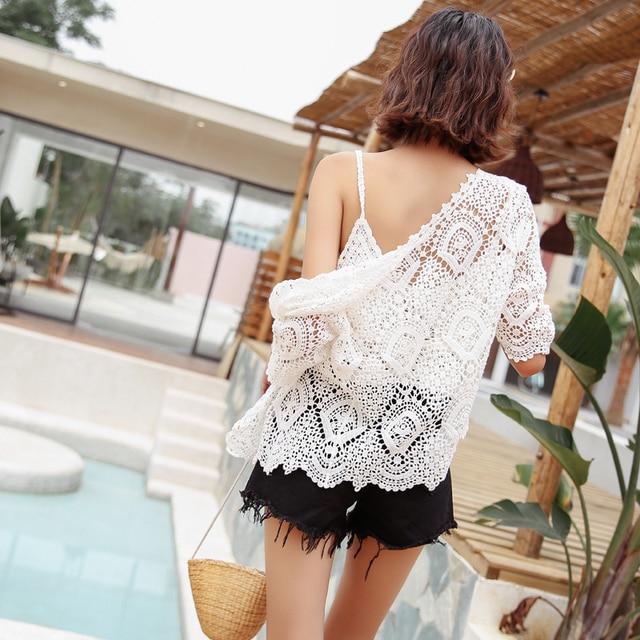 Boho chic hollow out crochet lace tops women fashion kawaii half sleeve summer cardigan 4