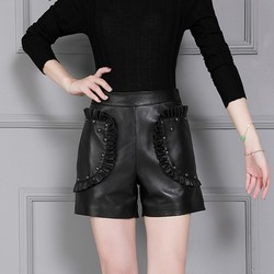 New Arrival Women Natural Leather Sheepskin Straight Shorts Slim Fit Wrap Solid Red Black High Waist Rivet Female Fashion Shorts