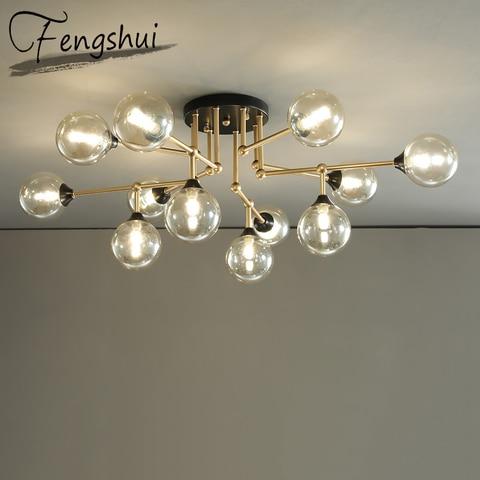 luxo lustre de vidro led lustres teto lustre iluminacao sala estar cozinha quarto loft luminaria