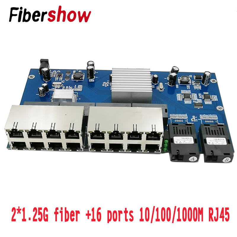 Gigabit Ethernet Switch Fiber Optical Media Converter Single Mode 16 RJ45 2 SC Fiber Port 10/100/1000M