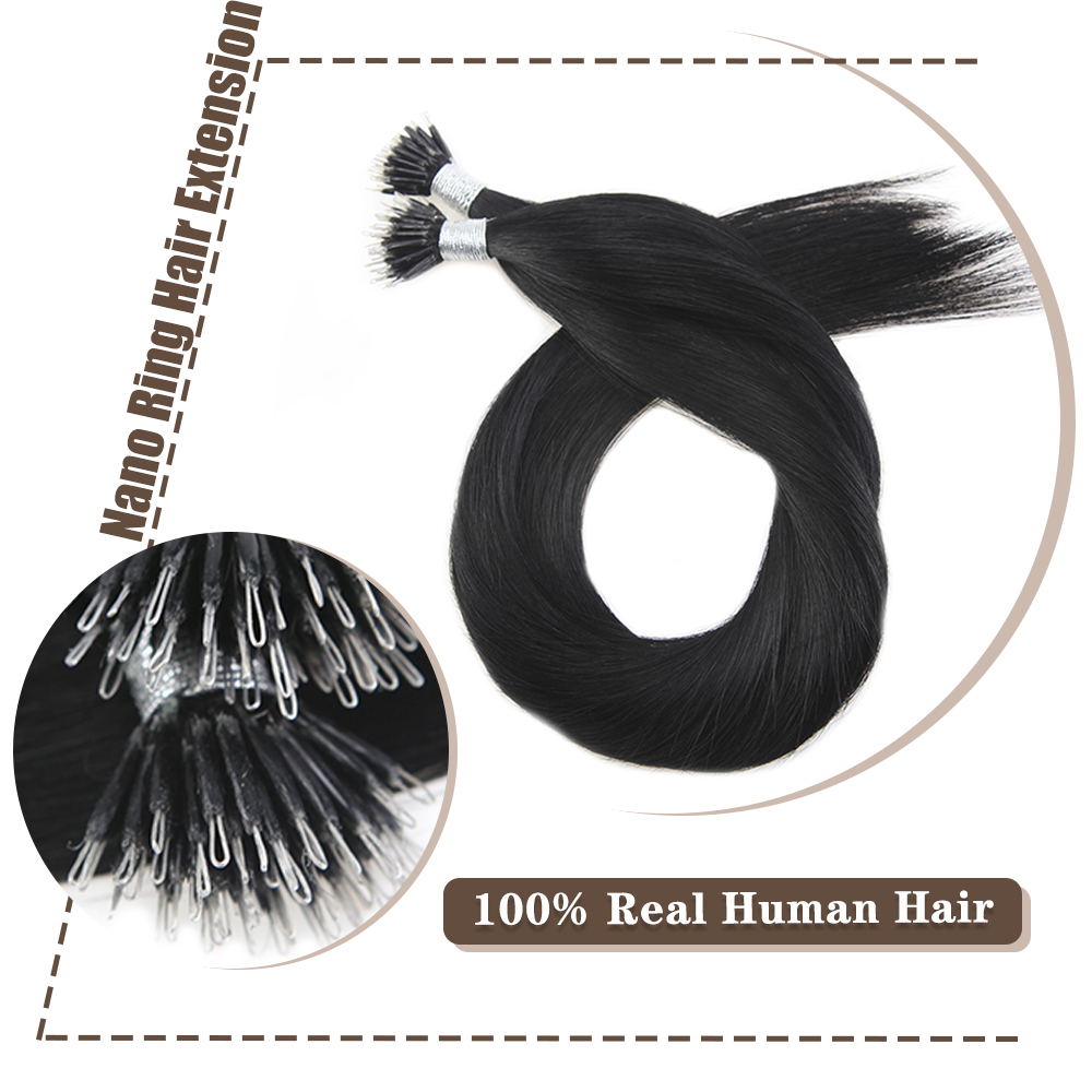 Moresoo 16-22 Inch Nano Ring Hair Extensions Machine Remy Human Pre-bonded Hair Extensions 0.8g/s 50 Shares Brazilian Hair