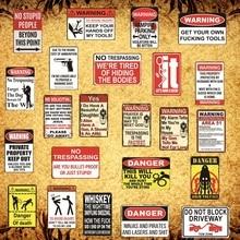 [Luckyaboy] Warning Sign Danger No stupid Vintage Metal RetroTin Wall Plaque Painting Antique Gift home bar Pub Decor AL002