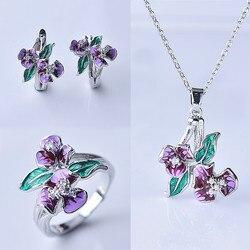 Luxury Female Enamel Flower Jewelry Set Charm Silver Color Wedding Clip Earrings For Women Cute Crystal Chain Necklace Ring
