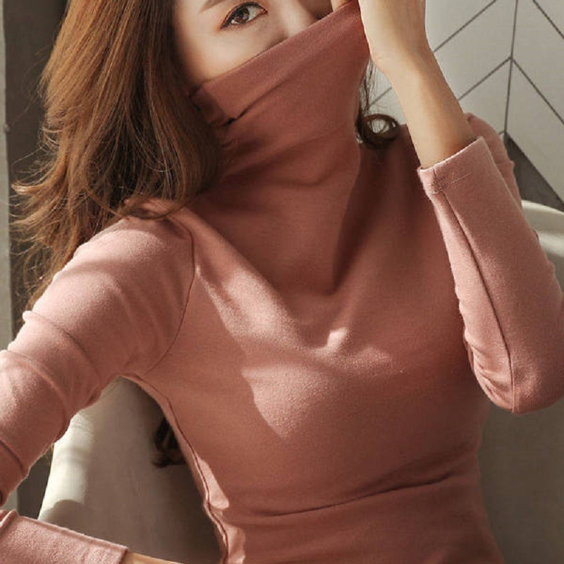 Womens Sweaters 2019 Autumn Winter Tops Turtleneck Sweater Women Black White Thin Pullover Jumper Knitted Sweater Pull Femme New 1