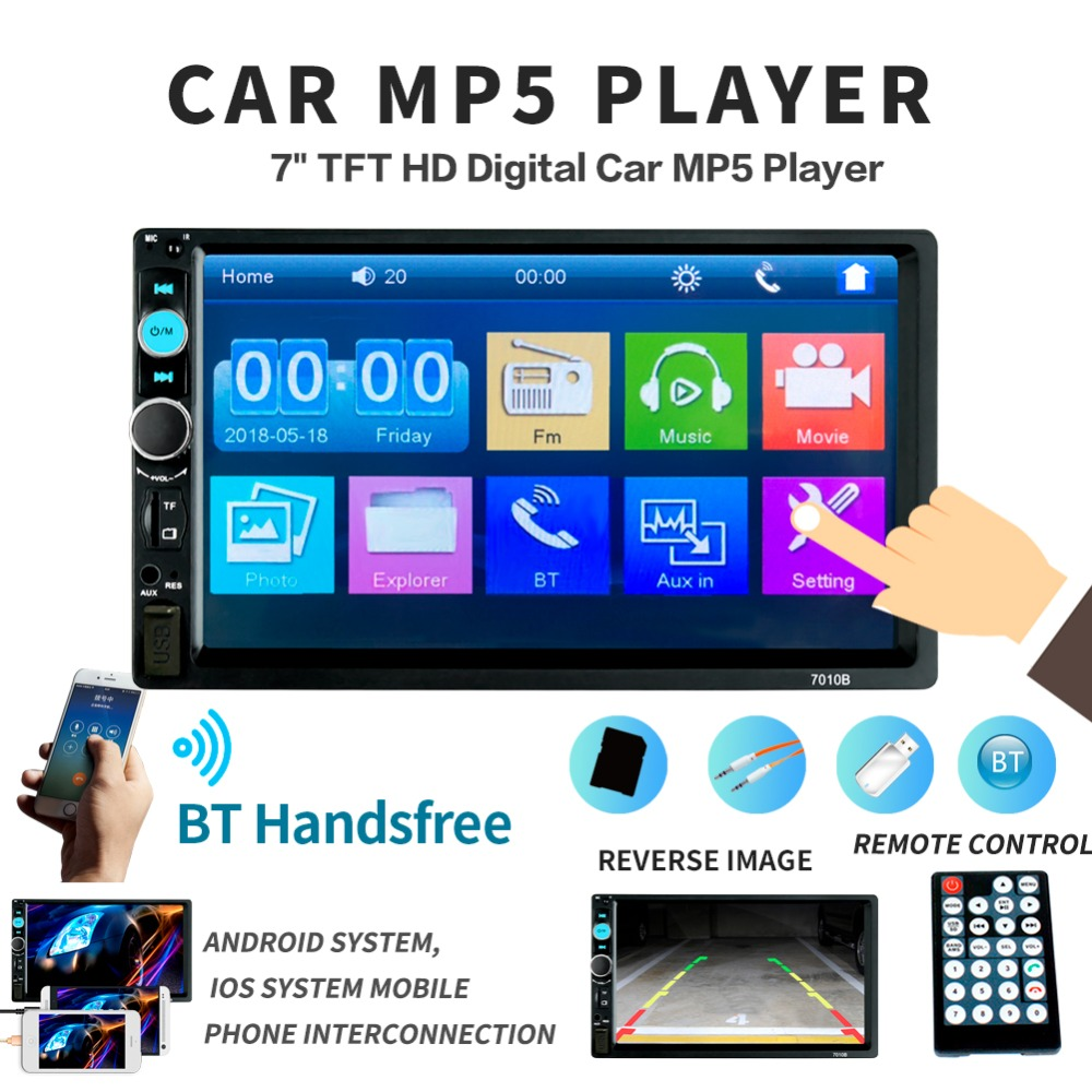 FOR IPhone Mobile Phone 2 Din 7'' TFT HD Touch Screen Bluetooth Car Radio Player  Audio Aux Support Rear View Camera 7010B