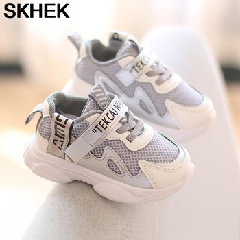 купить SKHEK New Children Shoes Boys Sport Shoes Fashion Brand Girls Sneaker Solid Color Breathable Mesh Casual Kids Running Shoes в интернет-магазине