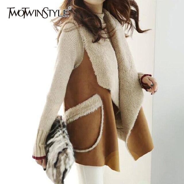 TWOTWINSTYLE Koreaanse Lam Wollen Vest Jassen Vrouwelijke Mouwloze Revers Kraag Casual Jas Voor Vrouwen Plus Dikke 2019 Winter Mode