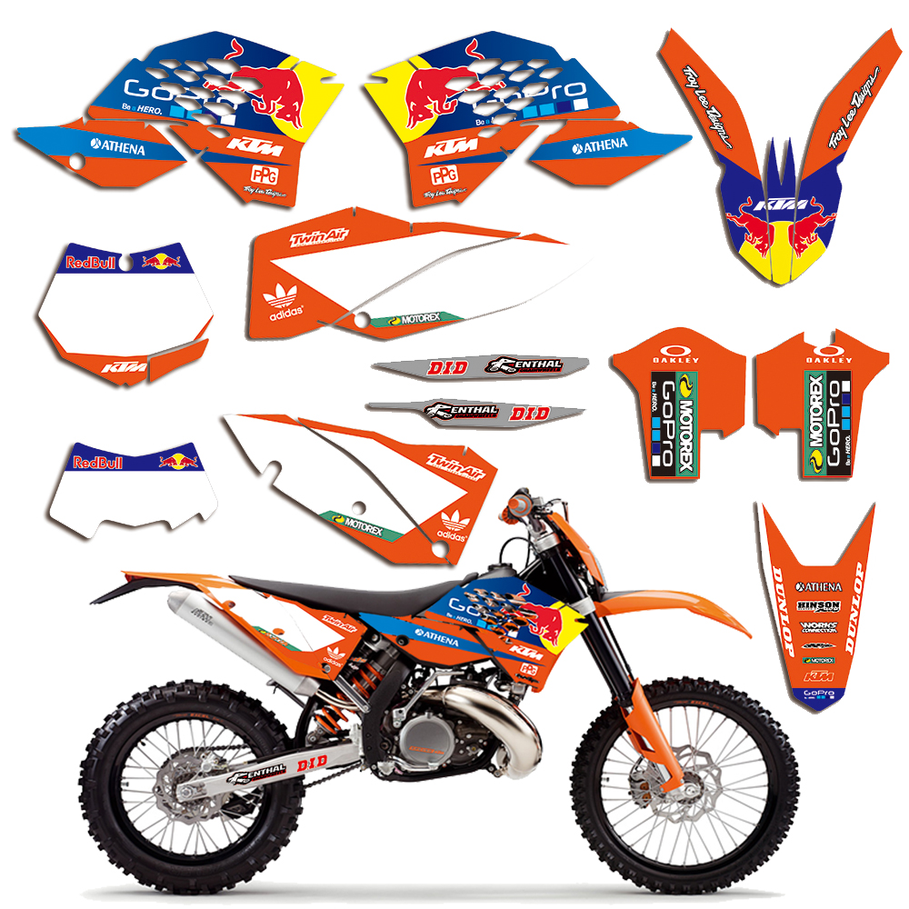 Motorcycle Graphics Decal For KTM EXC 125 150 250 350 450 2008-2011 2009 2010 Flank Fairing Sticker Kit Team Graphic Background