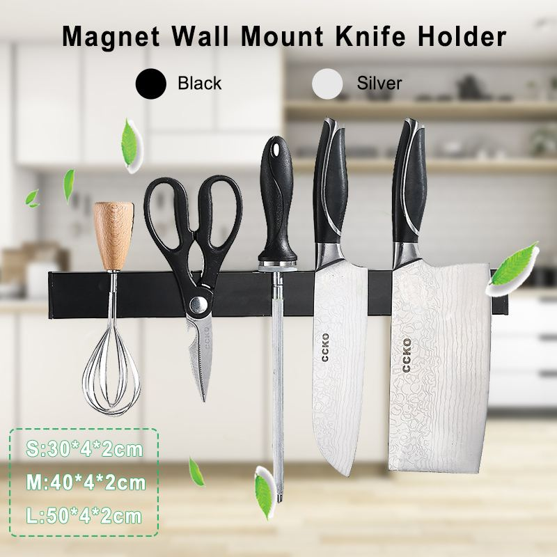 304 Stainless Steel Magnetic Knife Holder Wall Mount Knife Holder Utensil Magnetic Shelf Rack Kitchen Tool For Knives Organizer