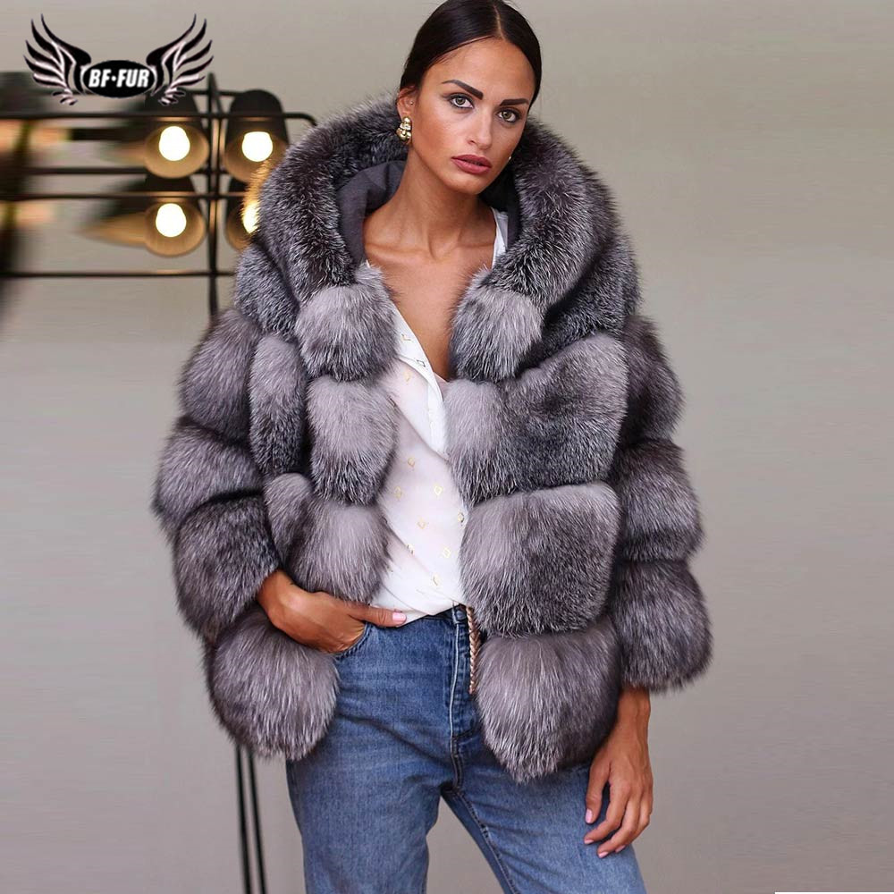 Fashion Genuine Sliver Fox Fur Coat With Hood Thick Warm Real Fox Fur Jacket For Women Winter Natural Fur Coats Luxury Outwear