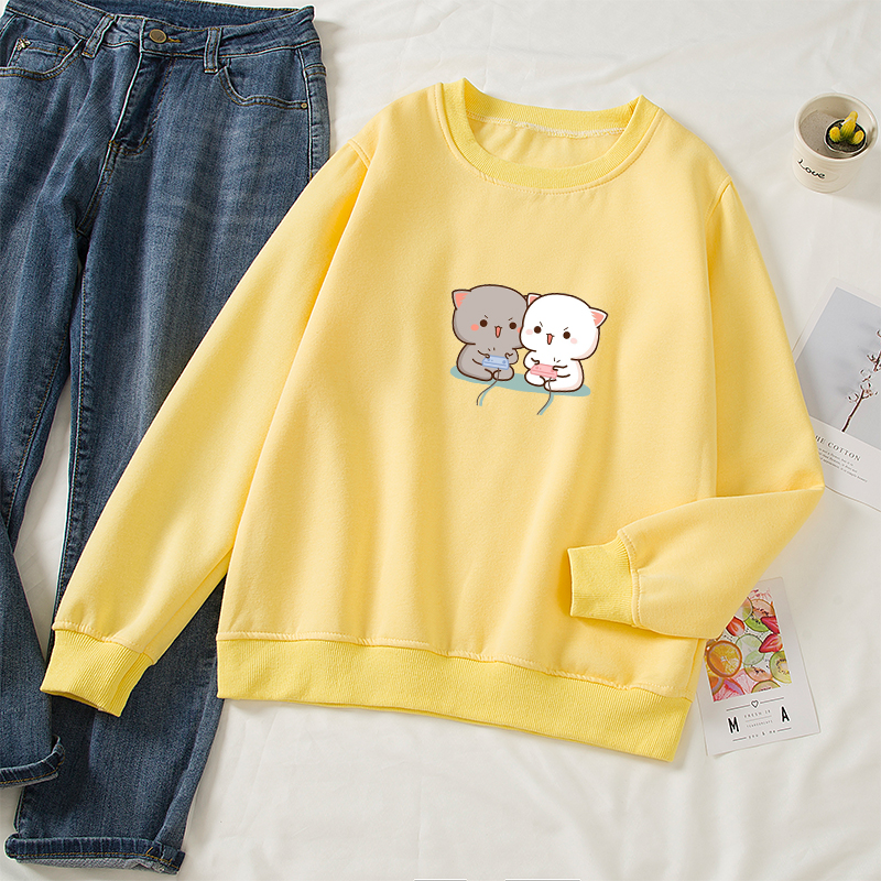 Cute Cat Printed Hoodies Women Autumn Loose Sweatshirt Female Itself Harajuku Kawaii Hooded Pullover Thicken Couple Coat 17