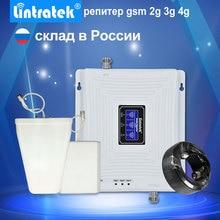 Lintratek จอแสดงผล LCD 2G 3G 4G Tri Band Repeater GSM 900 1800 3G UMTS 2100 4G LTE 1800 โทรศัพท์มือถือสัญญาณ Booster Amplifi.