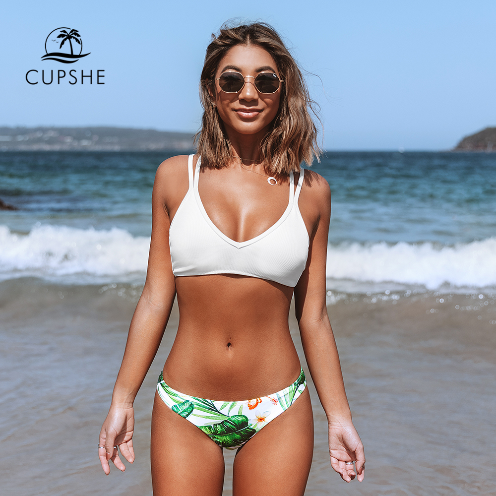 CUPSHE White And Green Leaf Print Low-waist Bikini Sets Sexy Lace Up Swimsuit Two Pieces Swimwear Women 2020 Beach Bathing Suit