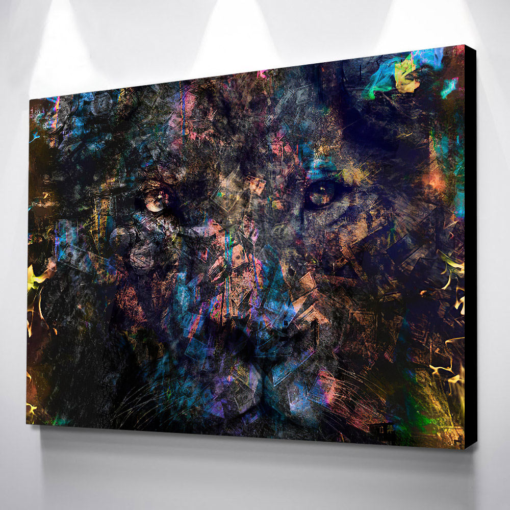 Money Lion Framed Canvas Painting - Canvas Paintings Under $500