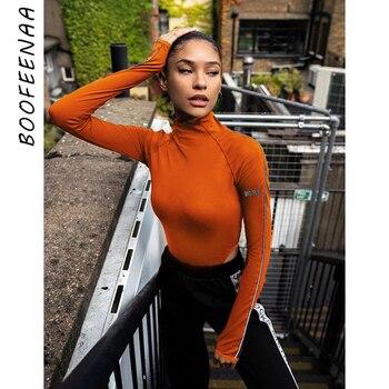 BOOFEENAA Reflective Letter Print Bodycon Long Sleeve High Cut Bodysuit Women 2020 Streetwear Sexy Black Bodysuits C67-AA98 фото