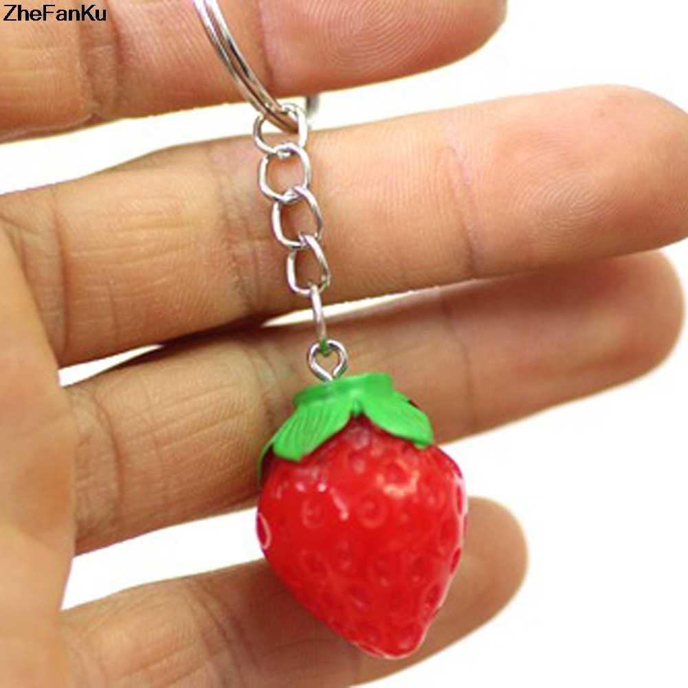 เครื่องประดับหญิงของขวัญเด็ก/ของขวัญเพื่อน 1 ชิ้น! ผลไม้ Key แหวน Little สตรอเบอร์รี่พวงกุญแจน่ารักแหวนผู้หญิง