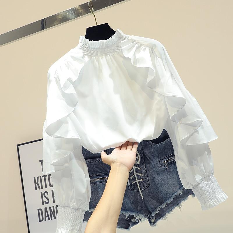 Femme printemps automne nouvelle chemise blanche lâche à manches longues Lotus feuille bord conception Blouse Blusas fille dame chemises de base Nancylim - 2
