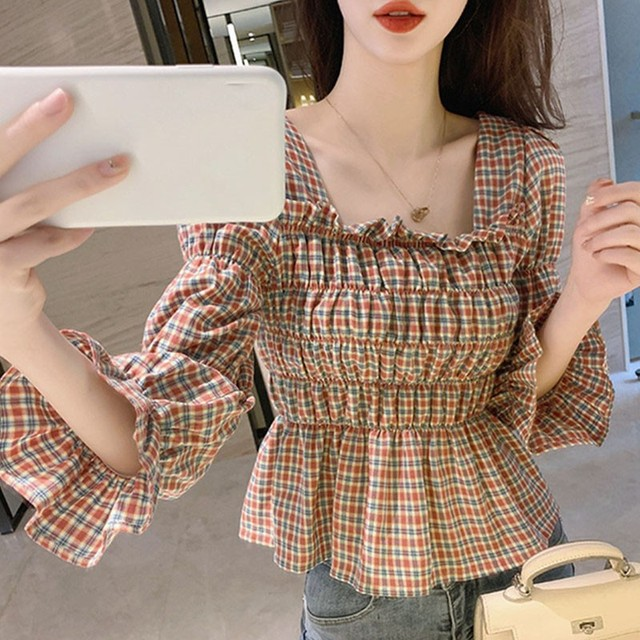 Liva Girl Retro Shirt Women Square Collar Blouse Plaid Printed Flare Sleeves Slim Waist All-Match Picture Color 2xl Camisa 4