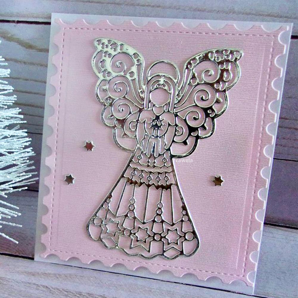 Anjo menina corte de metal morre amor flor estêncil para diy scrapbooking cartão decorativo gravação