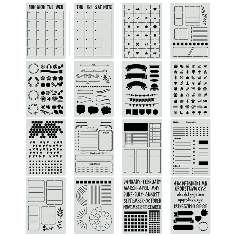 Make a scrapbook for free! 16pcs Plastic Journal Stencils Template For Journal Notebook Diary Scrapbook Planner Diy Drawing Stencils B95c Big Discount Ab598d Goteborgsaventyrscenter