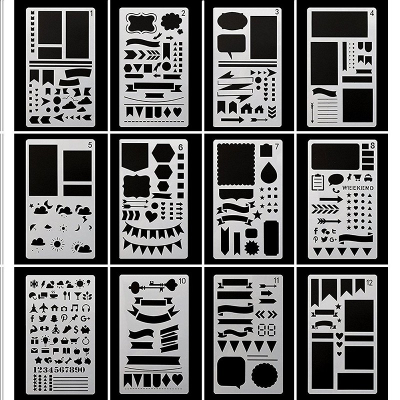 12 Pcs/Set DIY Drawing Template Billing record Journal Stencil Set cutting  for Diary Notebook Scrapbook Paper Craft Projects x