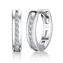 LESF 925 Sterling Silver Earrings Sparkling Single Row SONA Stone For Women Woman Jewelry