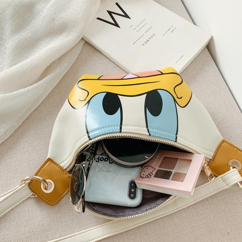 Disney Cartoon Cute Donald Duck Minnie Bag Children's Shoulder Crossbody Bag PU Material Wild Small Waist Bag