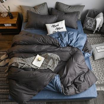 Classic Bedding Set Blue And Grey Lattice