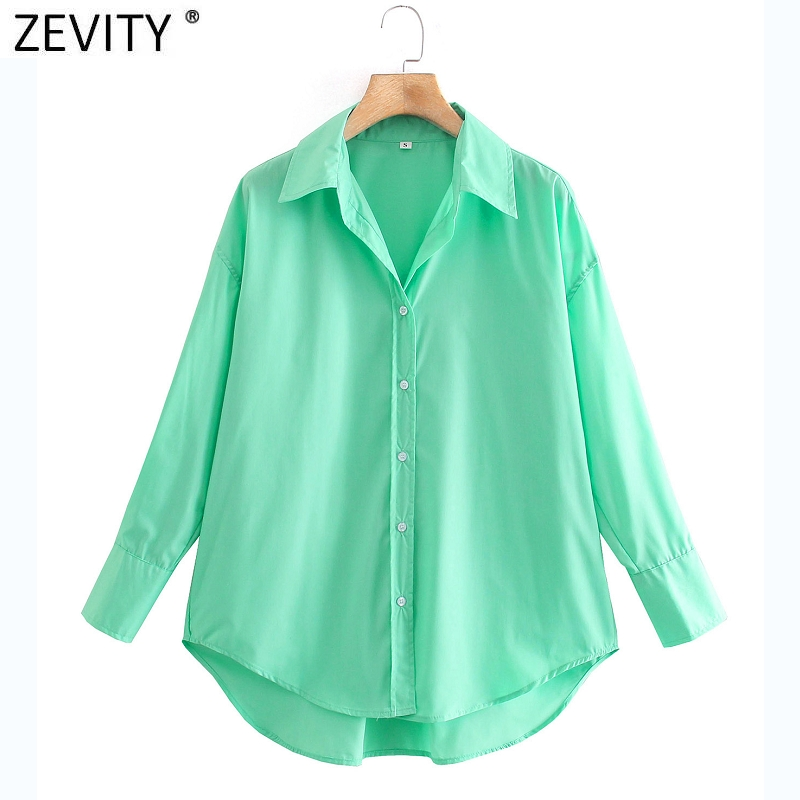 Zevity New Women Simply Candy COlor Single Breasted Poplin Shirts Office Lady Long Sleeve Blouse Roupas Chic Chemise Tops LS9114 6