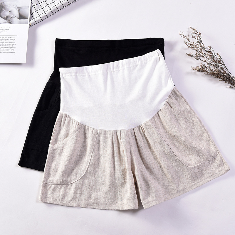 Хлопковые льняные шорты для беременных женщин летние тонкие свободные короткие брюки для беременных на улице хаки черные брюки