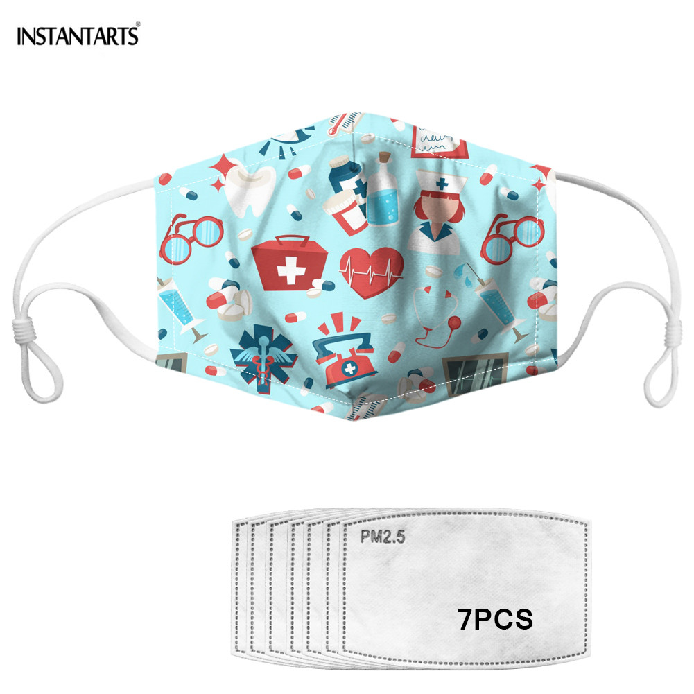 INSTANTARTS Adult Mouth Mask Cartoon Print Anti Dust Windproof Face Masks With 2pcs Filter Paper Non-disposable Mask Health Care