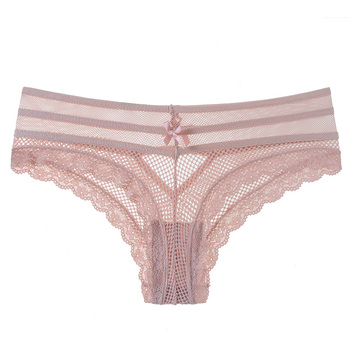 TERMEZY Sexy Panties Women Lace Low-waist Briefs Female Underwear Ladies Hollow Out Bow Lingerie Transparent G String Underpant 6
