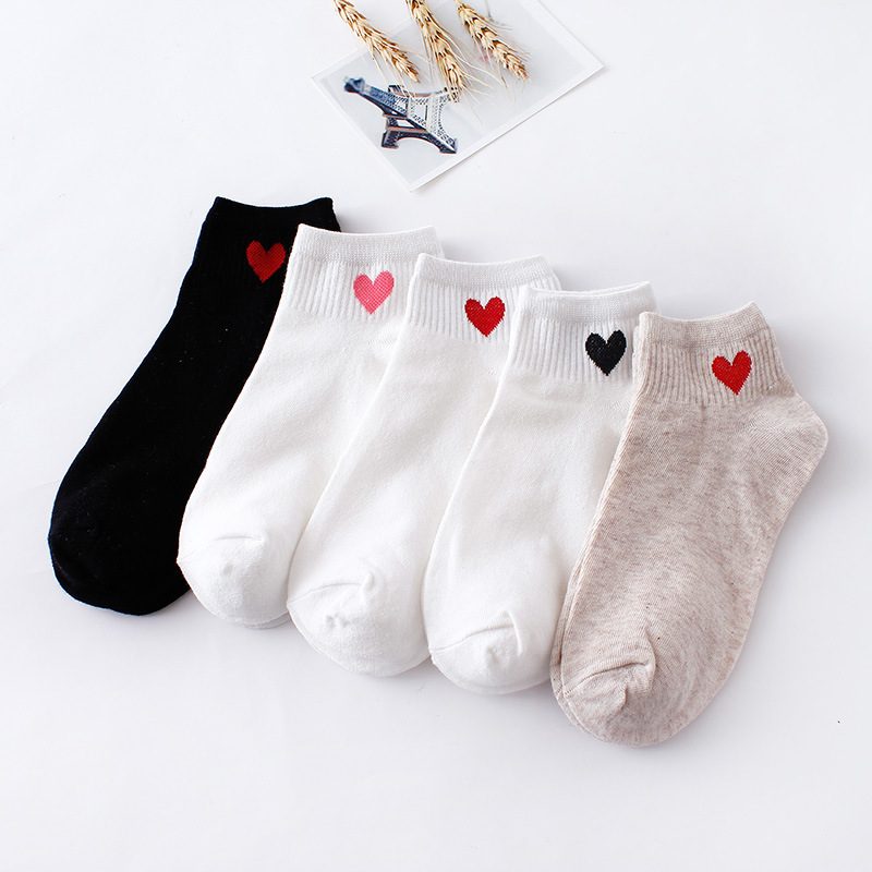 1 Pair New Cute Socks Women Red Heart Pattern Soft Breathable Cotton Socks Ankle-High Casual Comfy Socks Fashion Style ZM-06